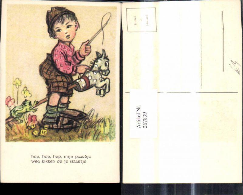 267839,Künstler Ak Kind m. Spielzeug Bub Junge m. Steckenpferd Peitsche Frosch Blumen Spruch