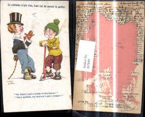 267849,Künstler Ak Dudley Buxton Kinder rauchen Zigarette Zylinderhut Roller Scooter Spruch