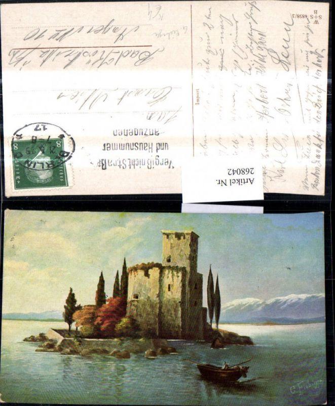 268042,Künstler Ak G. Fiebiger Schloss Burg a. Insel Landschaft Ruderboot Boot