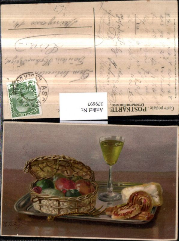 279697,Künstler AK Meissner & Buch 1467 Künstler M. Billing Guten Appetit Stillleben Obst Gemüse Glas