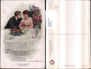 279721,Reinthal & Newman 817 Künstlerkarte In stolzem Besitz Liebespaar Liebe Rosen Tisch Teller
