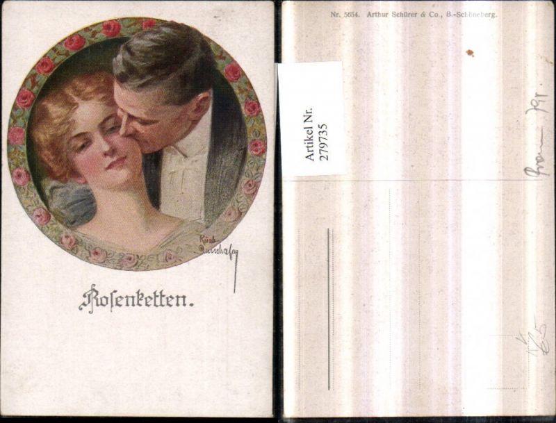 279735,Asco AK 5654 Künstler Ruab Gnischaf Rosenkette Liebespaar Liebe Portrait Passepartout Rosen