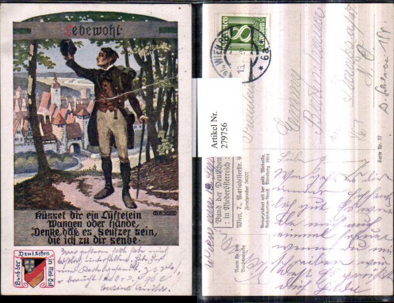 279756,Bund d. Deutschen i. Niederösterreich 37 Künstler K. A. Wilke Lebewohl Mann Stock Hut Stadt Text Spruch