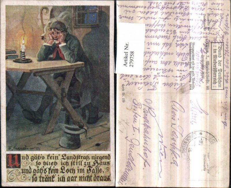 279758,Bund d. Deutschen i. Niederösterreich 179 Künstler F. Gareis Mann m. Pfeife Tisch Kerze Hut Maus Spruch Text