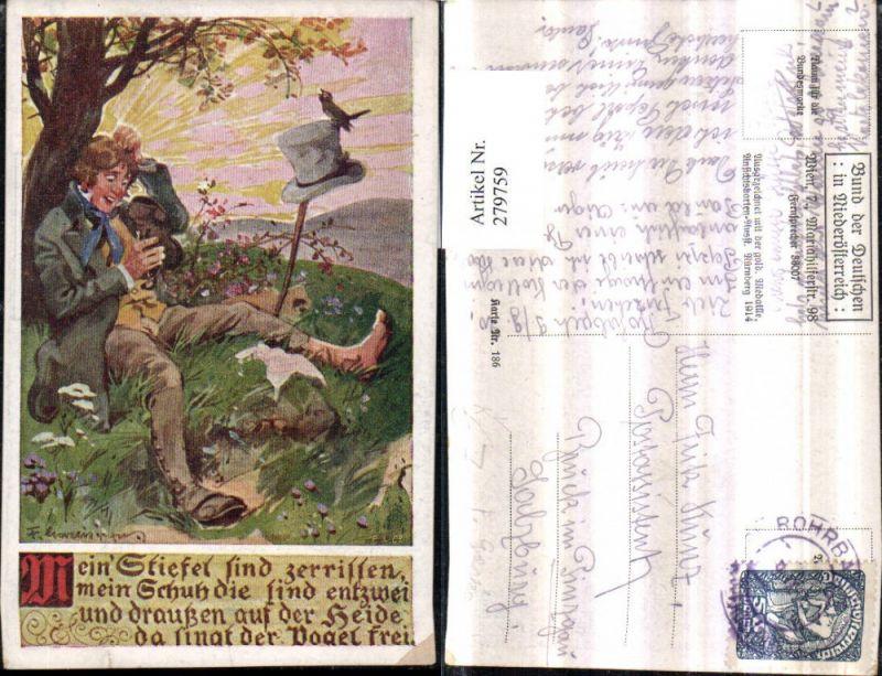 279759,Bund d. Deutschen i. Niederösterreich 186 Künstler F. Gareis Mann Stiefel Hut Vogel Spruch Text