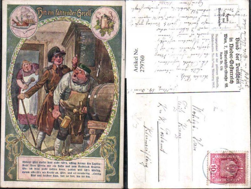 279760,Bund d. Deutschen i. Niederösterreich 176 Künstler F. Gareis Bin ein fahrender Gesell Märchen Fass Bier Hammer