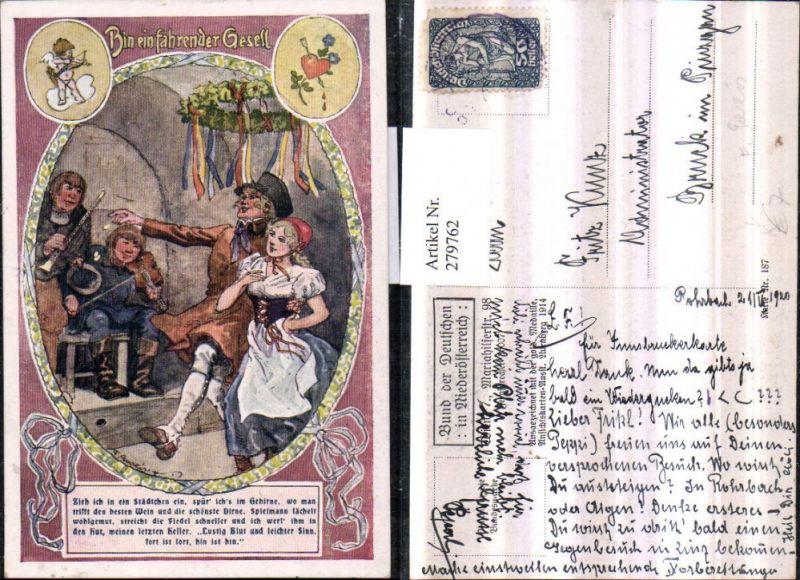 279762,Bund d. Deutschen i. Niederösterreich 187 Künstler F. Gareis Bin ein fahrender Gesell Märchen Geige Tracht Amo