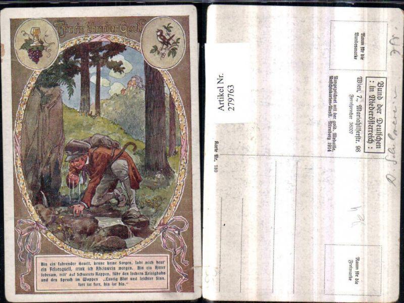 279763,Bund d. Deutschen i. Niederösterreich 180 Künstler F. Gareis Bin ein fahrender Gesell Märchen Mann Hut Felsenq