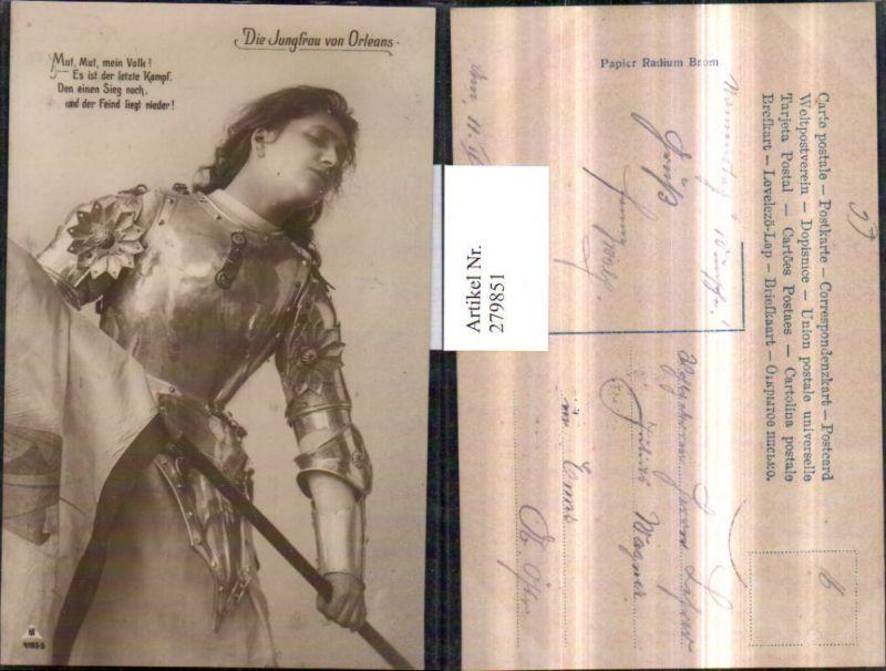 279851,Theater Die Jungfrau von Orleans Schauspielerin Frau Rüstung Fahne Spruch Text