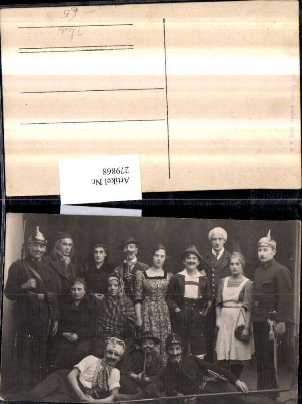 279868,Foto AK Theater Personen Kostüme Soldaten Pickelhaube Tracht Pfeife Gruppenfoto
