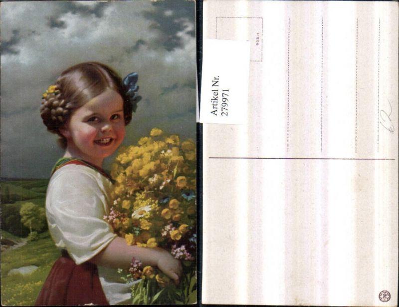 279971,Mädchen m. Masche Tracht Kleid Blumenstrauß Portrait pub Novolito 655/1