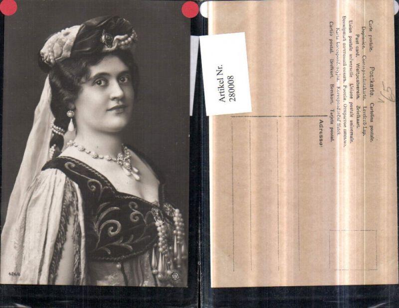280008,Foto AK Frau m. Kopfschmuck Ohrring Kette Tracht Portrait pub NPG 426/6