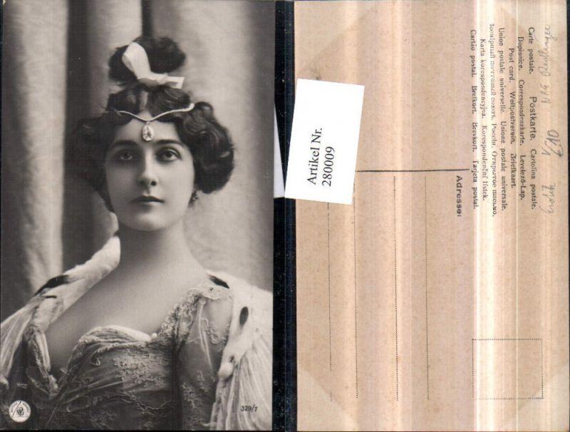 280009,Foto AK Erotik Frau m. Kopfschmuck Kette Stein Kleid Ausschnitt Portrait pub NPG Reutlinger 329/7