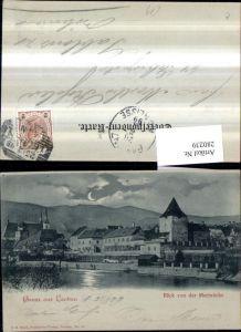 280239,Mond Litho AK Gruß aus Leoben Teilansicht Blick von d. Murbrücke
