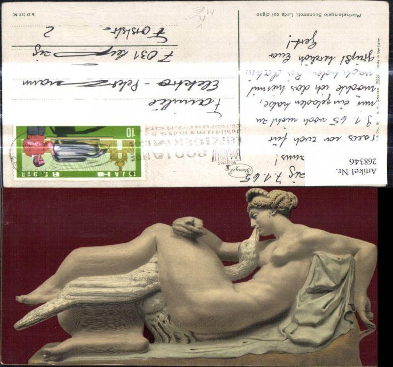 268346,Künstler Ak Michaelangelo Buonarroti Leda col cigno Nackte Frau m. Vogel Pfau Erotik pub Stengel Co 29345