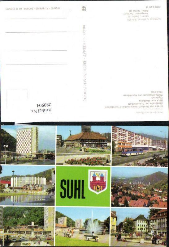 280904,Suhl Totale Waffenmuseum Stadthalle Digitaluhr Steinweg Wilhelm-Pieck-Straße Mehrbildkarte 0