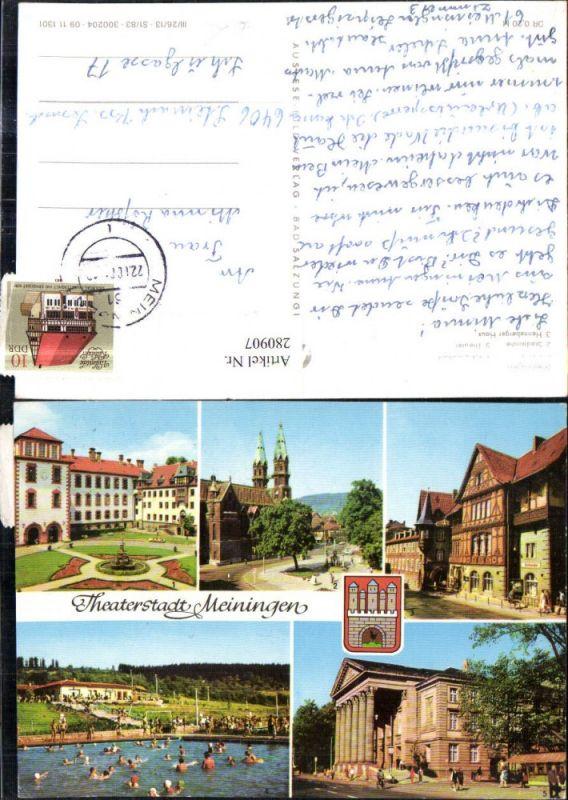 280907,Meiningen Schloss Stadtkirche Schwimmbad Theater Henneberger Haus Mehrbildkarte 0