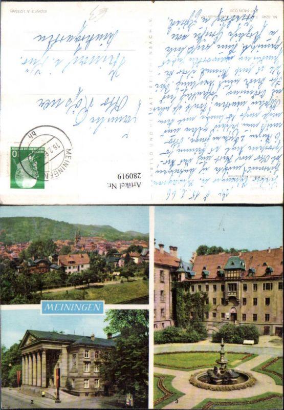 280919,Meiningen Totale Theater Schlosshof m. Brunnen Mehrbildkarte 0