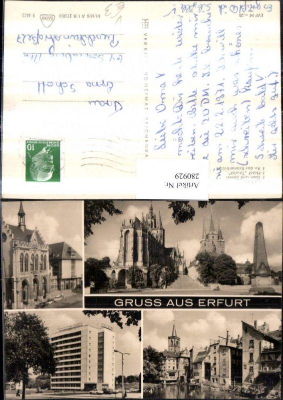 280929,Gruß aus Erfurt Rathaus Dom u. Severi-Kirche Hotel Tourist Krämerbrücke Mehrbildkarte pub VEB