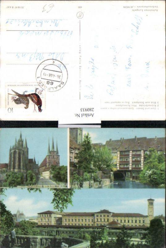 280933,Erfurt Dom u. Severi-Kirche Krämerbrücke Blick vom Stadtpark Mehrbildkarte 0