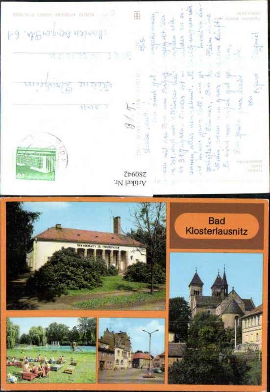 280942,Bad Klosterlausnitz Sanatorium Dr. Friedrich Wolf Freibad Markt Klosterkirche Kirche Mehrbildkarte 0