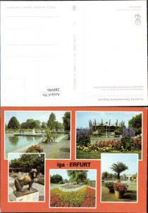 280946,Erfurt Internationale Gartenbauausstellung Blumen Garten Pferdestatue Springbrunnen Mehrbildkarte