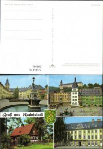 280949,Rudolstadt Schloss Heidecksburg Marktplatz Volkskundemuseum Brunnen Mehrbildkarte