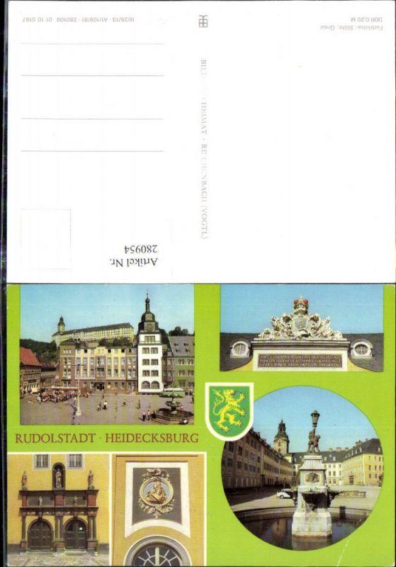 280954,Rudolstadt Rathaus Blick zum Schloss Heidecksburg Brunnen Detailansichten Mehrbildkarte 0