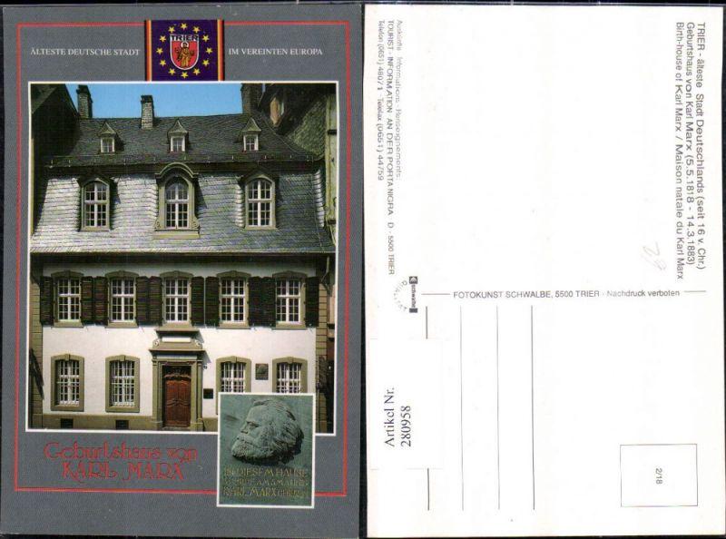 280958,Trier Geburtshaus von Karl Marx Steinportrait Mehrbildkarte 0