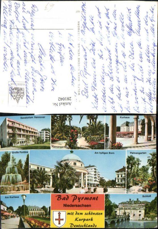 281042,Bad Pyrmont Schloss Kurhaus Sanatorium Palmengarten Große Fontäne Mehrbildkarte 0
