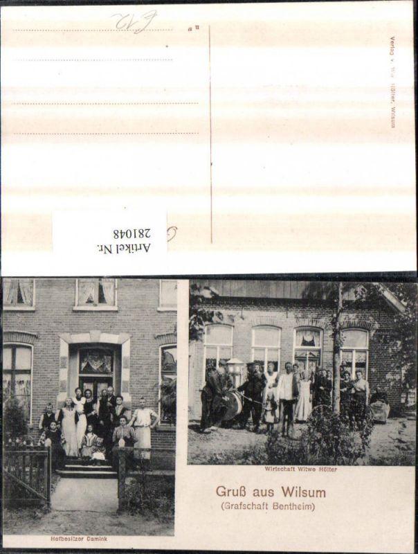281048,Gruß aus Wilsum Wirtschaft Witwe Hölter Hofbesitzer Damink Mehrbildkarte