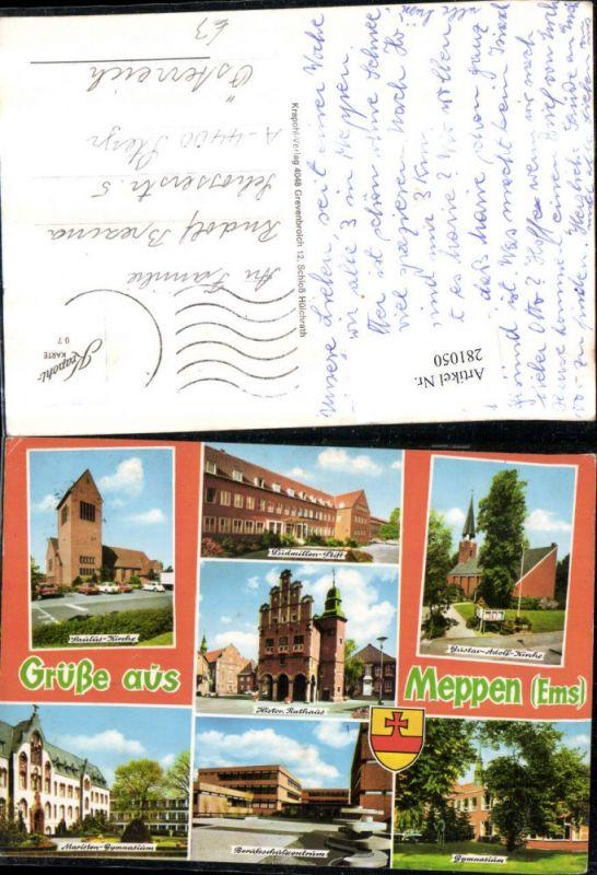 281050,Gruß aus Meppen Rathaus Kirche Stift Gymnasium Berufsschülerzentrum Mehrbildkarte 0