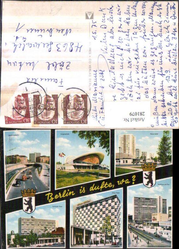 281079,Berlin Hansaviertel Kongresshalle Stadtautobahn Hochhaus Hilton Hotel Corbusier-Haus Mehrbildkarte 0