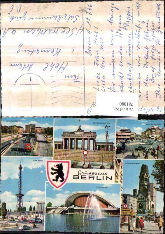 281080,Berlin Funkturm Kongresshalle Gedächtniskirche Brandenburger-Tor Kurfürstendamm Mehrbildkarte