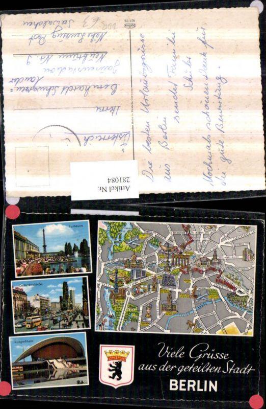 281084,Berlin DDR Stadtplan Funkturm Gedächtniskirche Kongresshalle Mehrbildkarte 0