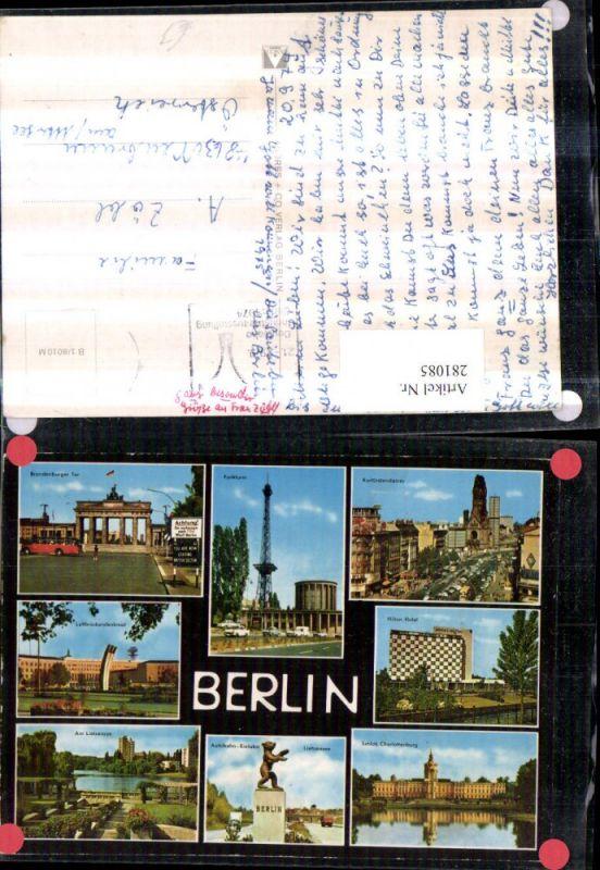 281085,Berlin Funkturm Brandenburger-Tor Hilton Hotel Schloss Charlottenburg Kurfürstendamm Mehrbildkarte 0