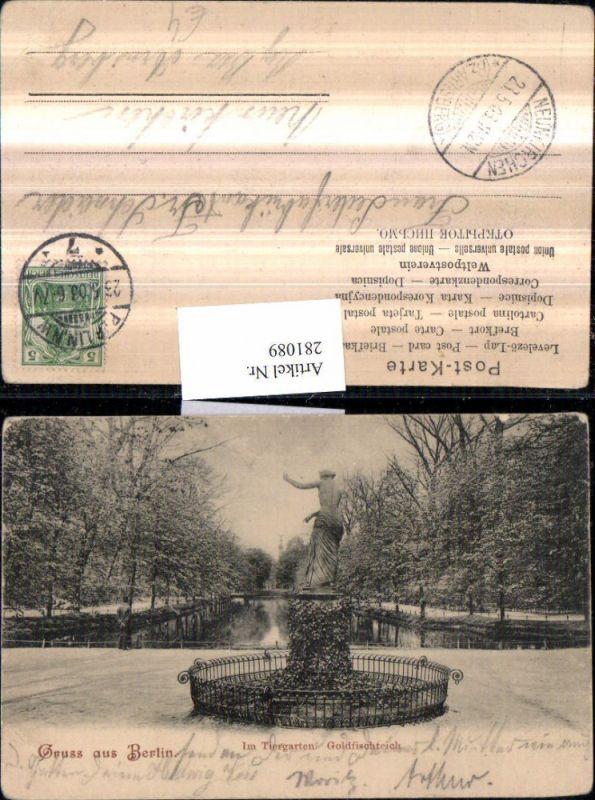 281089,Berlin Tiergarten Goldfischteich Statue 0