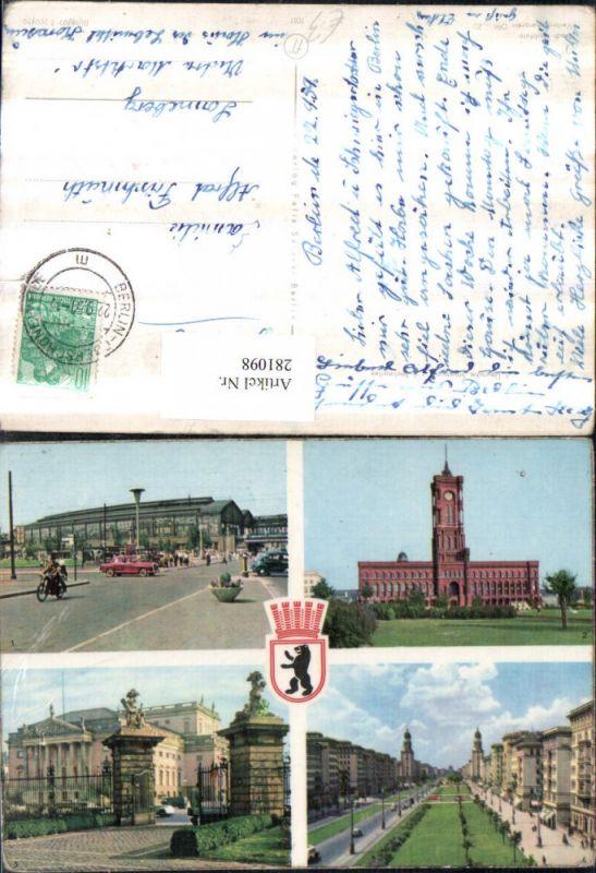 281098,Berlin Bahnhof Friedrichstraße Rathaus Staatsoper Stalinallee Mehrbildkarte 0