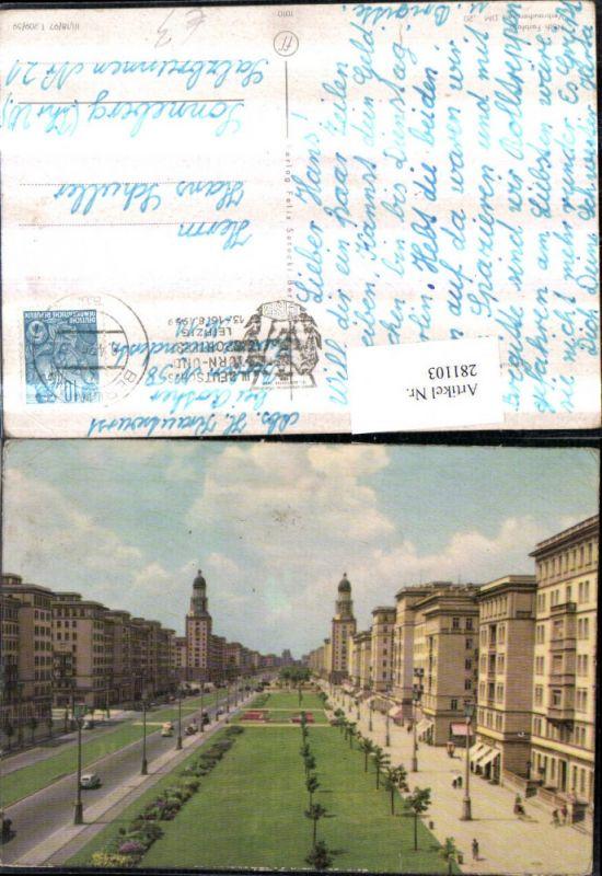 281103,Berlin Stalinallee Blick nach Westen Straßenansicht Geschäfte 0