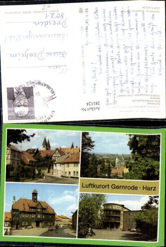 281124,Gernrode im Harz Totale Rathaus Spittelplatz FDGB-Erholungsheim Fritz Heckert Mehrbildkarte