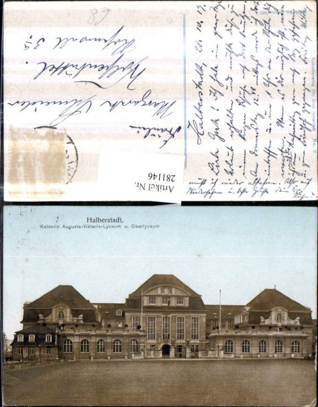 281146,Halberstadt Kaiserin Augusta-Viktoria-Lyceum u. Oberlyceum 0