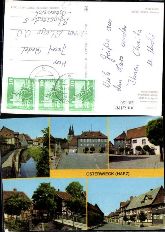 281150,Osterwieck im Harz Am Damm Markt Heimatmuseum Holzbrücke Straßenansicht Mehrbildkarte
