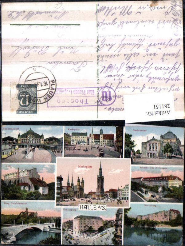 281151,Halle an d. Saale Marktplatz Hauptbahnhof Dom Moritzburg Mehrbildkarte Bahnpost Zug 10 Thosson über Plauen 0