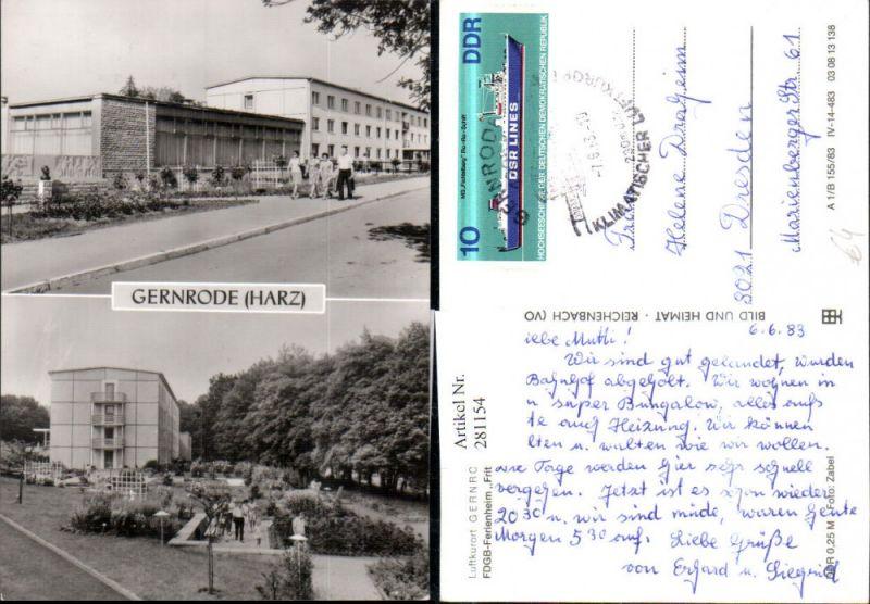 281154,Gernrode im Harz FDGB-Ferienheim Fritz Heckert Mehrbildkarte