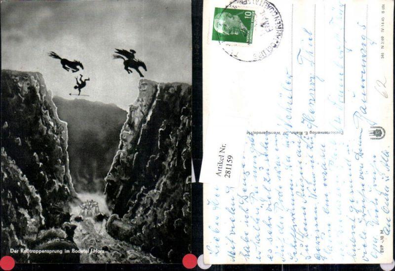 281159,Künstler AK Bodetal im Harz Der Roßtrappensprung Pferde Nymphen 0