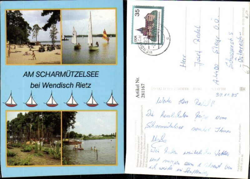 281167,Wendisch Rietz Scharmützelsee Badestrand Segler Windsurfer Campingplatz Mehrbildkarte 0