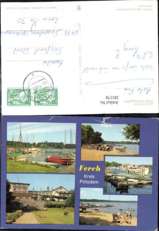 281178,Ferch b. Potsdam Schwielowsee FDGB-Erholungsheim Pierre Semard Boote Strand Mehrbildkarte 0