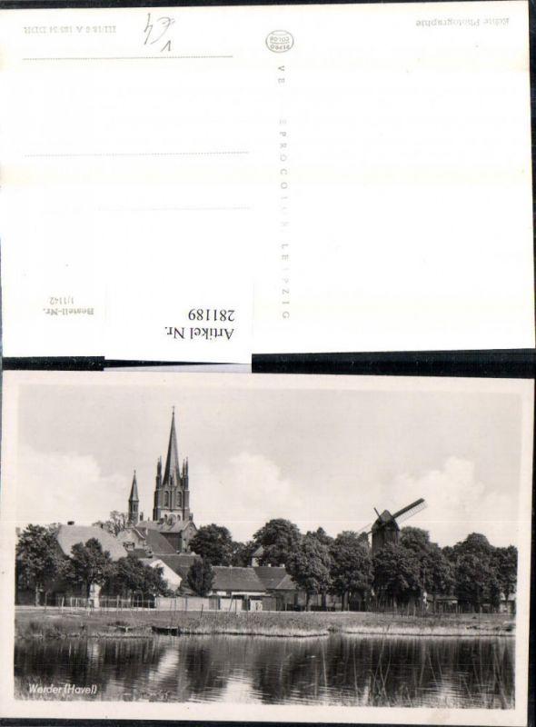 281189,Werder an d. Havel Windmühle Mühle Kirchenturm pub VEB 0