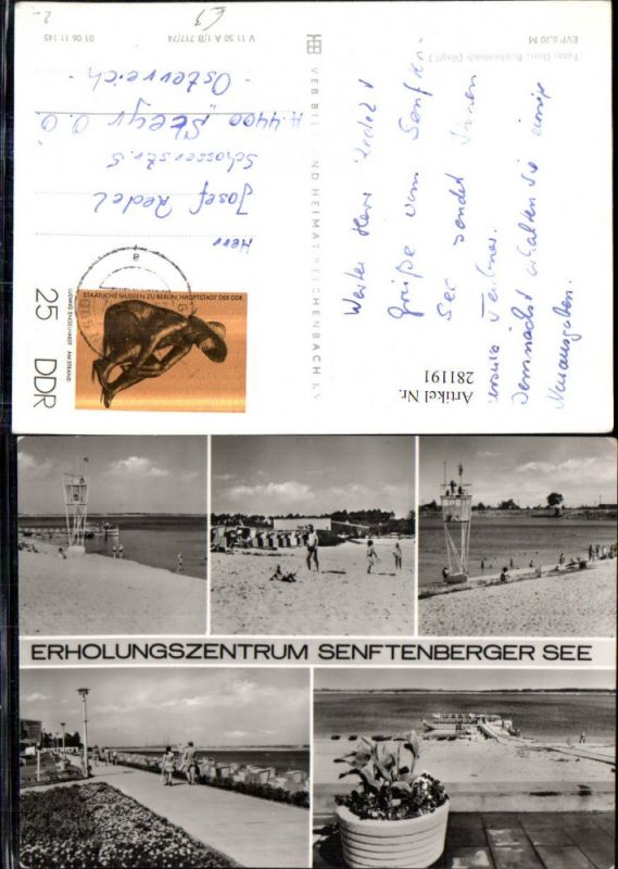 281191,Senftenberg Senftenberger See Strand Strandleben Promenade Mehrbildkarte 0