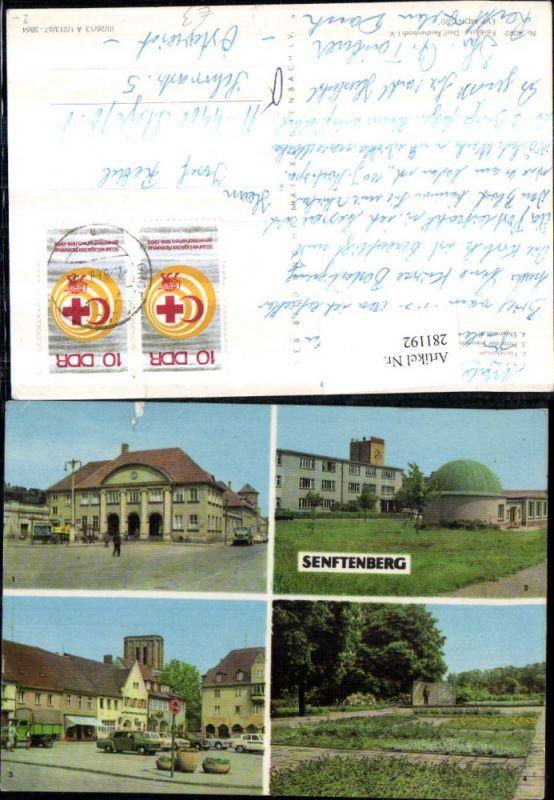 281192,Senftenberg Bahnhof Planetarium Platz der Freundschaft Ehrenmal Mehrbildkarte 0